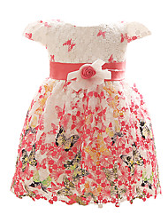 rouge / bleu / fuchsia robe de petite fille, polyester floral toutes les saisons