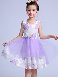 A-line Knee-length Flower Girl Dress - Chiffon / Cotton / Tulle Sleeveless Jewel with Bow(s) / Flower(s)