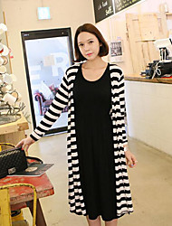 Round Neck Pleated Maternity Dress,Cotton Knee-length Long Sleeve