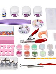 Professional 25pcs Nail Art Manicure Set Kit UV Gel Tool Brush Remover Nail Tips Glue Acrylic Kits DIY Set