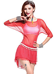 Belly Dance Outfits Women's Training Rayon Ruffles 3 Pieces Fuchsia / Green / Purple / Red