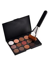 15 Colors Contour Face Cream Makeup Concealer Palette + Sponge Puff Powder Brush + 1PCS New Fashion Flat Contour Brushes