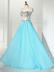 Formal Evening Dress A-line Sweetheart Floor-length Chiffon / Lace / Sequined with Beading / Lace