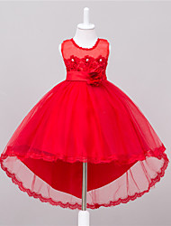 BONJEAN Ball Gown Asymmetrical Flower Girl Dress - Organza Jewel with Appliques