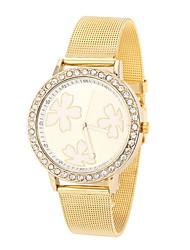 Mulheres Relógio de Moda / Relógio de Pulso Quartz Relógio Casual Aço Inoxidável Banda Legal Prata / Dourada marca-
