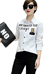 Women's Going out / Casual/Daily Street chic All Seasons Blouse,Print Shirt Collar Long Sleeve White Cotton Thin