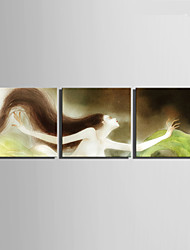 E-HOME® Stretched Canvas Art Long Haired Woman Decoration Painting  Set of 3