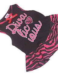 Dog Dress Black Summer Letter & Number / Bowknot