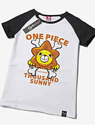 Inspiré par One Piece Monkey D. Luffy Anime Costumes de cosplay Tops Cosplay / Bas Imprimé Blanc Manche Courtes Manches Ajustées