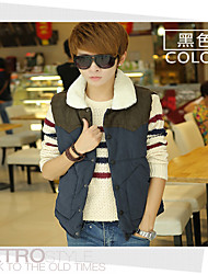 Men's Sleeveless Casual Jacket,Lamb Fur Patchwork Black / Red