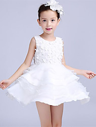 A-line Short / Mini Flower Girl Dress - Cotton / Organza / Satin Sleeveless Jewel with Appliques