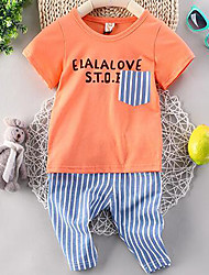 Baby Casual/Daily Solid Clothing Set-Cotton-Summer-Green / Orange / White / Yellow