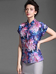 Baoyan® Women's Shirt Collar Short Sleeve Shirt & Blouse Purple-150275