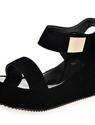 Damen-Sandalen-Lässig-PU-Keilabsatz-Sandalen-Schwarz / Weiß