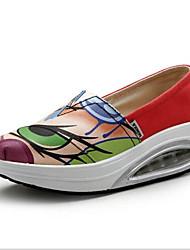 Damen-Flache Schuhe-Lässig-PU-Flacher Absatz-Komfort / Geschlossene Zehe-Schwarz / Rot