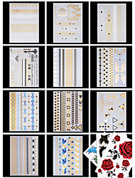 14 PCS/SET Waterproof Gold Tattoo Flash Metallic Temporary Tattoos for Body Art(11 Gold +3Colorful)