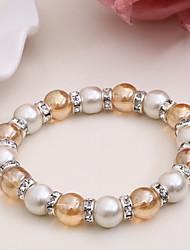 Fashionable Glass 19cm Round Strand Bracelets
