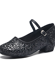 Kids' Dance Shoes Paillette Paillette Latin Heels Flat Heel Practice / Indoor Black