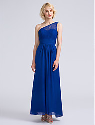LAN TING BRIDE Ankle-length One Shoulder Bridesmaid Dress - Elegant Sleeveless Chiffon Lace