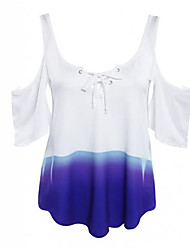 Women's Casual/Daily Sexy / Simple Summer Blouse,Color Block U Neck Short Sleeve White Polyester Thin