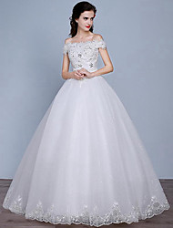 A-line Wedding Dress Floor-length Off-the-shoulder Lace / Tulle with Lace