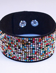 Rhinestone Crystal Charm and Cool Sparkling Leather Bracelet 7 Color For Women