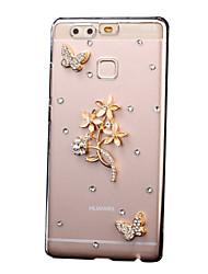 para Huawei caso p9 Lite p8 Lite companheiro 8 9 strass caso de volta caso cobertura flor pc difícil Huawei p9 Lite