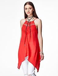 heartsoul Frauen Casual / Tages sexy / simple Sommerbluse, feste Riemen ärmel rot Polyester / Spandex dünn