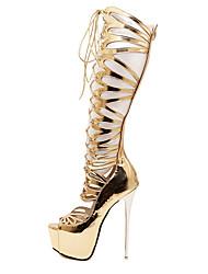 Damen-Stiefel-Lässig-PU-Stöckelabsatz-Modische Stiefel-Gold
