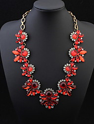 Exquisite Gem Necklace Exaggerated Big Round Leaves