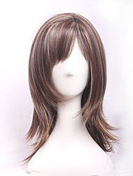 Beauty Natural Brown Blonde Colors Mixed Highlights Hair Medium Long Wave Sexy Heat Resistant Synthetic Wigs