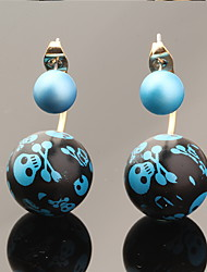 Multicolor Luxury Skull Print Ball Skeleton Pearl Earrings
