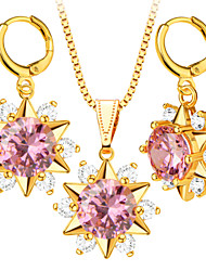 Crystal Necklace Earrings Jewelry Sets Trendy 18K Gold Plated Fashion Brand Zircon Jewelry Set Women Party Gift S20066