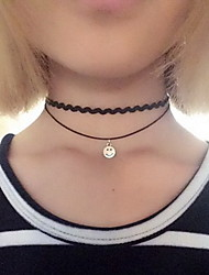 Necklace Choker Necklaces Jewelry Halloween / Daily / Casual Sexy / Fashionable Alloy / Lace Black-White 1pc Gift