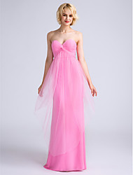 LAN TING BRIDE Floor-length Sweetheart Bridesmaid Dress - Open Back Sleeveless Satin Tulle