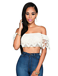 Women's Casual/Daily Sexy Lace Hollow Out T-shirt,Solid Boat Neck Short Sleeve White