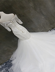 Trumpet / Mermaid Wedding Dress Court Train Off-the-shoulder Organza with Appliques / Beading / Lace / Pearl