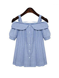 Damen Gestreift Street Schick Strand T-shirt,Gurt Sommer ½ Länge Ärmel Blau / Rot Polyester Undurchsichtig