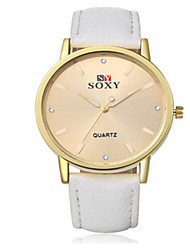Lady's Leather Band White Case Analog Quartz Dress Watch(NO Water Ressistant)