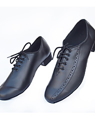 Customizable Men's Dance Shoes Latin / Jazz / Ballroom/ Salsa Leatherette Low Heel Black