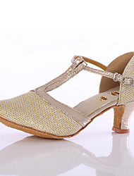 Women's Dance Shoes Leatherette Sequin Latin/Modern Heels  Indoor Silver / Gold