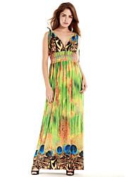Women's Beach / Plus Size Boho Swing Dress,Print Deep V Maxi Sleeveless Green Polyester Summer