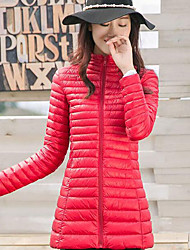 Women's Solid Blue / Red / Black / Gray Down Coat,Simple / Street chic / Active Turtleneck Long Sleeve