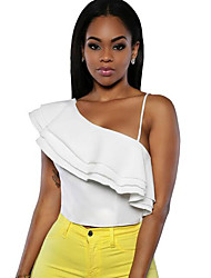 Women's Solid Backless Off-The-Shoulder Irregular Falbala Tanks,One Shoulder Sleeveless