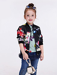 Girl's Casual/Daily Floral Jacket & Coat / Trench Coat,Polyester Spring / Fall Black