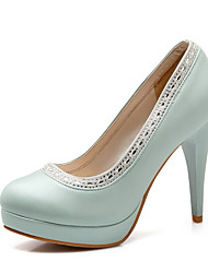 Women's Shoes PU Summer / Fall Heels / Round Toe Office & Career / Casual Stiletto Heel Sparkling Glitter Blue / Pink / White