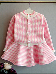 Girl's Casual/Daily Solid Sweater & Cardigan,Cotton Spring / Fall Black / Pink
