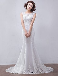 Trumpet / Mermaid Wedding Dress Floral Lace Court Train Jewel Tulle with Appliques Beading