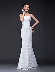 Trumpet / Mermaid Wedding Dress Floral Lace Floor-length Strapless Lace Tulle with Lace