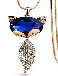 Exquisite Crystal Fox Pendant Necklace Jewelry for Lady
